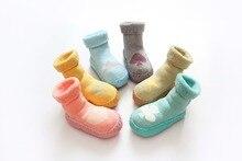 2017 Fall Baby Socks Newborn Boys Girls Kids Cotton Anti slip Boots Socks Cartoon Winter Warm Floor Shoes Socks Rubber Sole