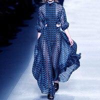 2019 Runway Dress Geometric Printing Sexy Hollow Out High Waist Stand Collar Big Swing Long Chiffon Dress Female