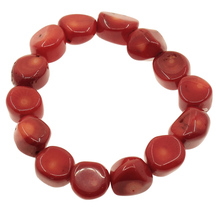 Natural Coral Bracelet Wedding Jewelry red 12-14mm, Length:Approx 7.5 Inch, Sold By Strand