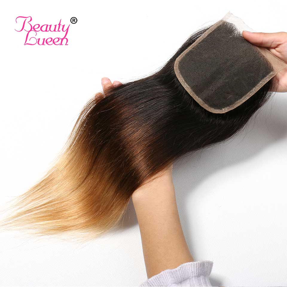 Ombre Brazilian Straight Hair Weave 3 Bundles With Closure T1B427 3 Tone Honey Blond Ombre Human Hair With Closure Remy Hair (25)
