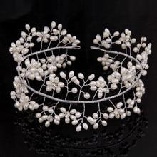 Nuevos Granos de la Perla Brillante de Cristal Corona de La Tiara Del Pelo Accesorios de Boda Head Piezas Novia Headwear Banda para el Cabello de Moda