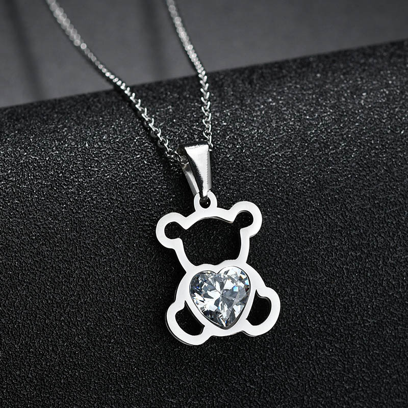 HTB1C49KQSzqK1RjSZFHq6z3CpXah - Charm Hollow Cubic Zircon Bear Chain Necklaces For Women Gold Color Animal Necklace Jewelry Gift