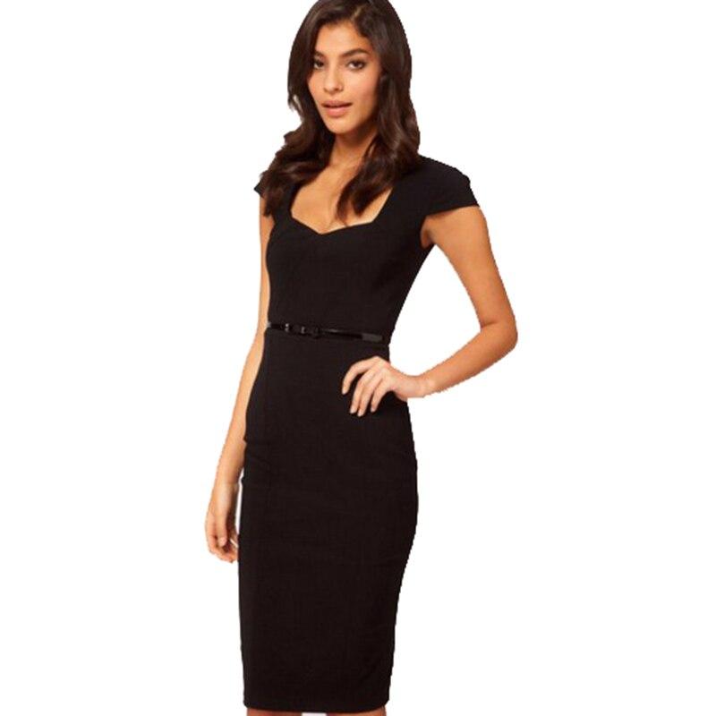 Aamikast New Fashion Elegant Square Collar Sleeveless Knee-length Women  Silm Temperament Sexy OL Pencil 32c9d0dd2