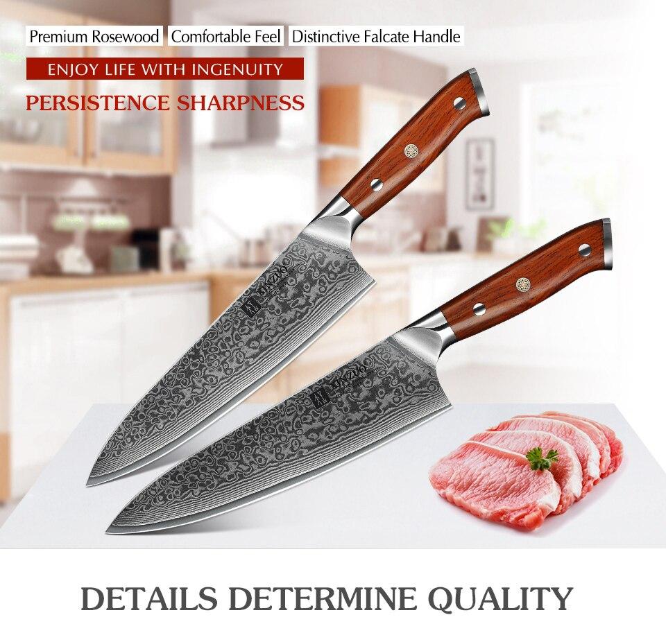 profissional gyutou facas aço inoxidável rosewood lidar com