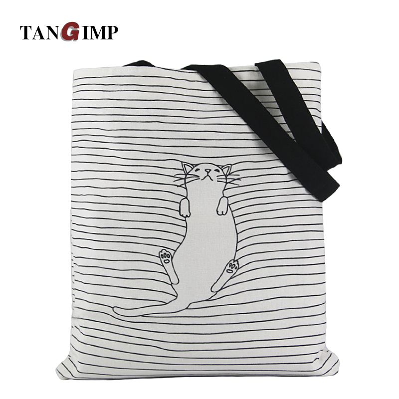 TANGIMP Cute Striped Napping Cat Cotton Canvas Handbags /  Eco Daily Female Single Shoulder Shopping Bags Tote Women Beach Bags