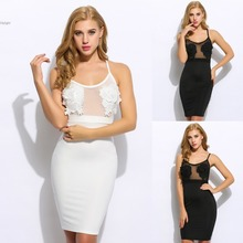 High Quality Women New Sexy Fashion Autumn Sleeveless Spaghetti Strap Evening Party Mid Solid O Neck Pullover Lace Cami Dress