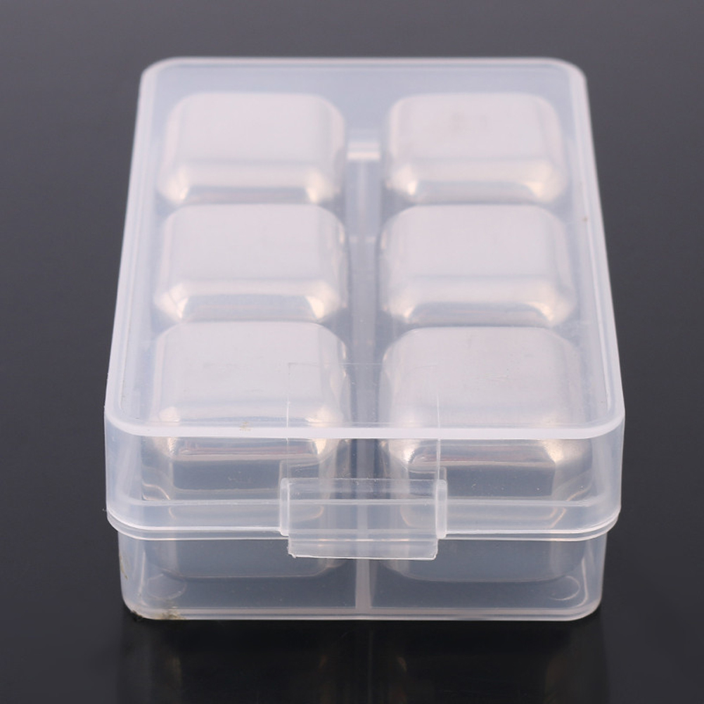 4pcs 6pcs---with plastic box Stainless Steel Whisky Stones Ice Cubes Glacier Cooler Stone Whiskey Rocks hot selling+free ship