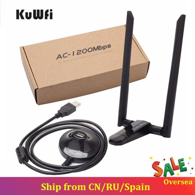 KuWfi 1200Mbps Kablosuz USB Ağ Kartı USB3.0 Çift Bant 2.4G & 5.8G wifi alıcısı Kablosuz Adaptörü PC Ile 2 Adet Antenler