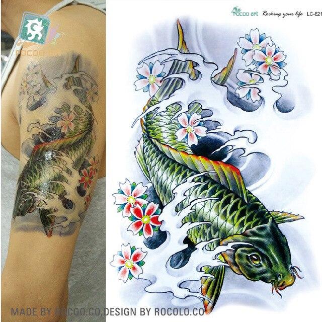 2c336e30a Body Art Beauty Makeup Cool Green Japanese Carp Tattoo 15D Waterproof  Temporary Tattoo Stickers