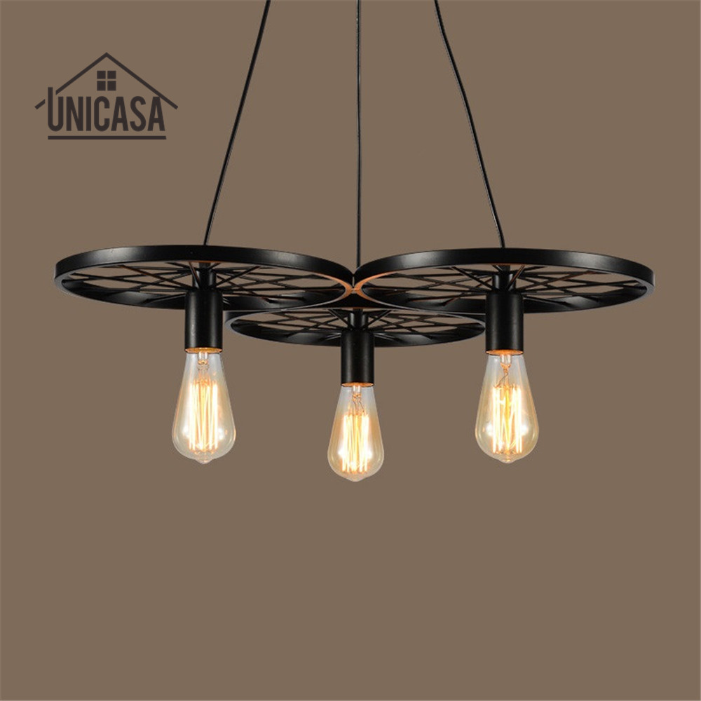 US $172.89 |Vintage Industrial Pendant Lights Wrought Iron Lighting Office  Bar Hotel Kitchen Black Light Antique Ceiling Lamps And Lanterns-in Pendant  ...
