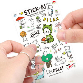 6pcs lot creative funny expression text pvc transparent korean stickers papers flakes kids decorative for cards stationery 6pc/package, Cute Funny Bearish Pvc Transparent Korean Stickers Children's Decorative Cartoon Handmade Scrapbook Reward Stickers