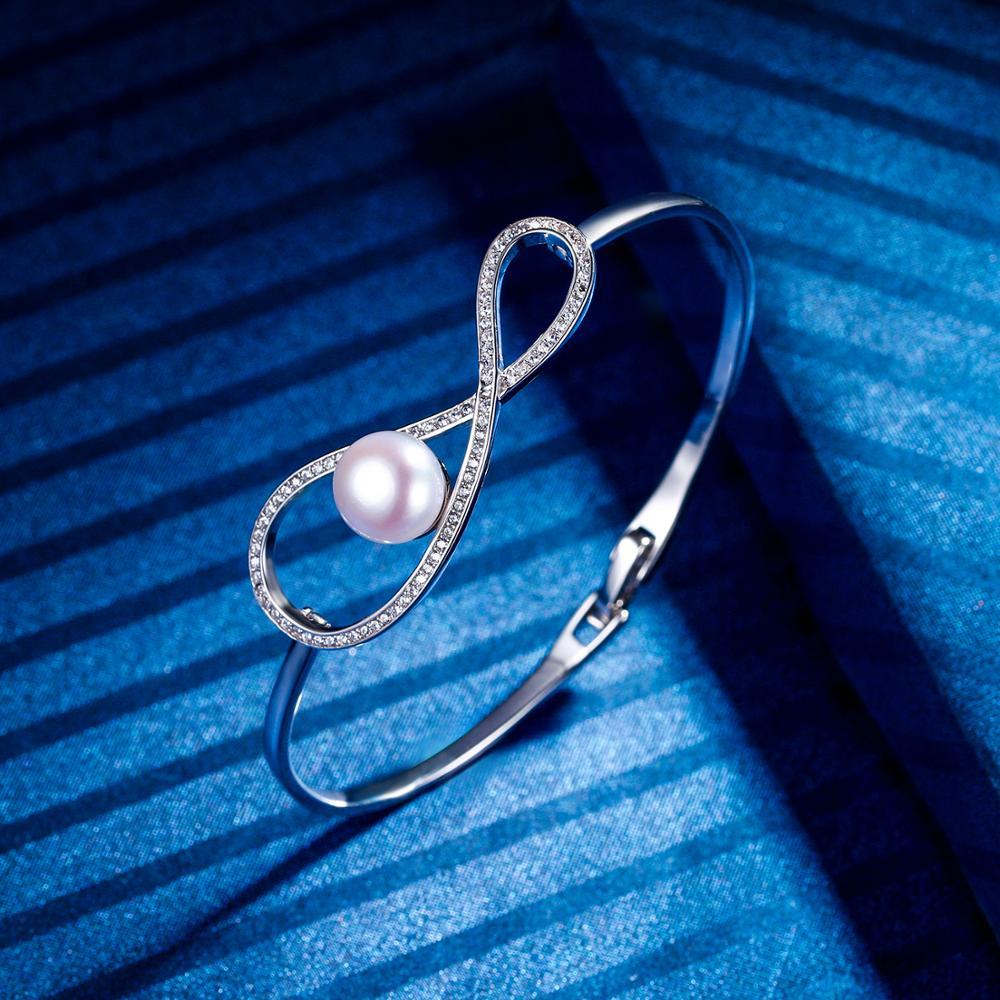 Tuliper 925 Серебро Бесконечность свадебный браслет кубическая цирконовая жемчужина браслет для женщин Свадебная вечеринка ювелирные изделия подарок