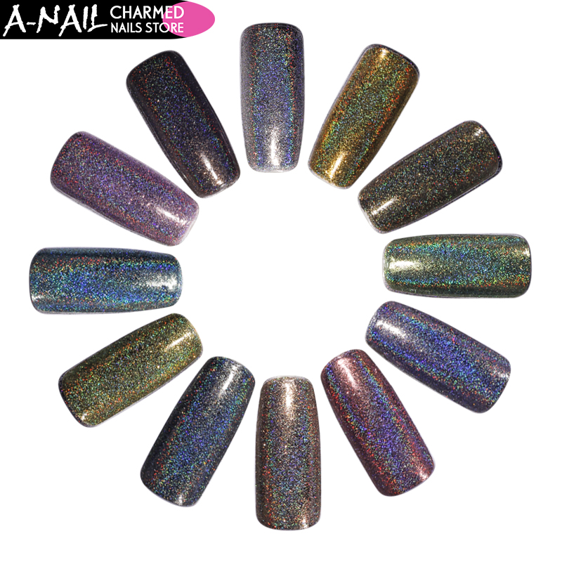 12 Colors/set Holographic Laser Nail Glitter Holo Shining Rainbow Nail Powder Chrome Nail Tips Dust Manicure Nail Art Decoration new 12 colors glitter decoration nail art crystal rhinestone powder case box set hb88