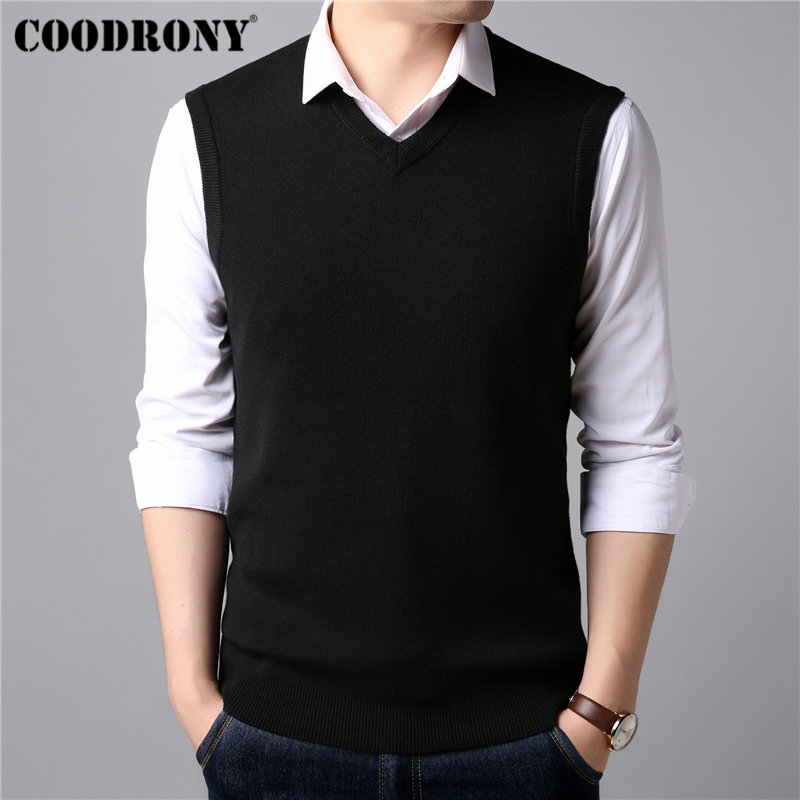COODRONY Sleeveless V-neck Vest Mens Sweaters Knitwear Pull Homme Cashmere Cotton Sweater Men Classic Casual Wool Pullover 91007