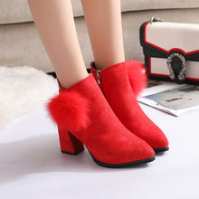 2018 Women Boots Flock Ankle Boots Round Toe Winter Women Boots Ladies Party Western Stretch Fabric Boots Big Size #TX4(China)