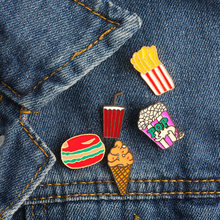 Cartoon Metallo Sveglio Hamburger Patatine Fritte Bere Popcorn Gelato penna Creativa Dello Smalto Pin Clip Collare Spille Distintivo Sciarpa Decorato Pins(China)