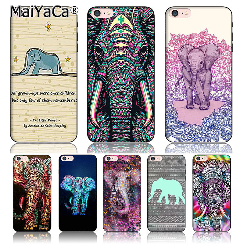 MaiYaCa Protective Tpu Mobile Phone Case Cute Baby Elephant in purple & blue For iPhone 6s plus 6plus Case