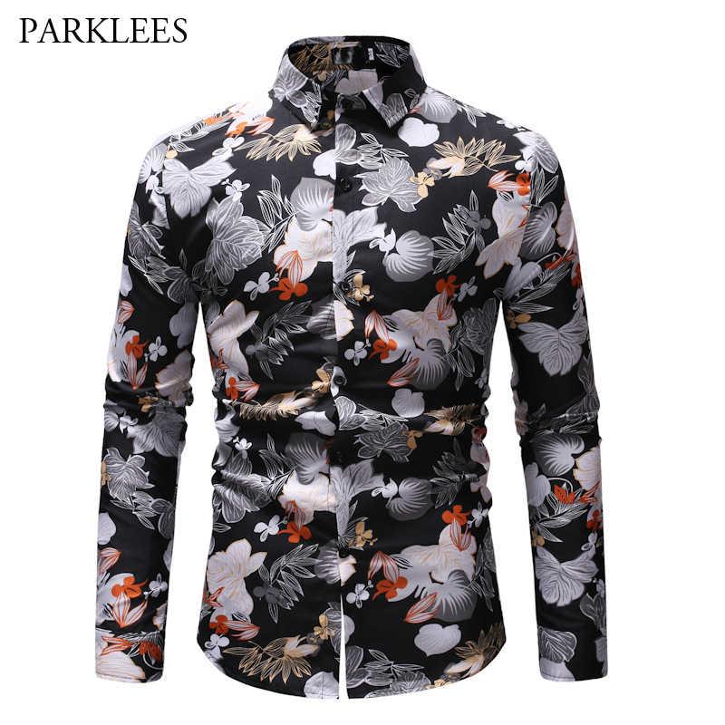 2019 Ретро рубашка с цветочным принтом мужская повседневная приталенная с длинным рукавом мужская черная рубашка новая мода хипстерская уличная одежда Homme Топы