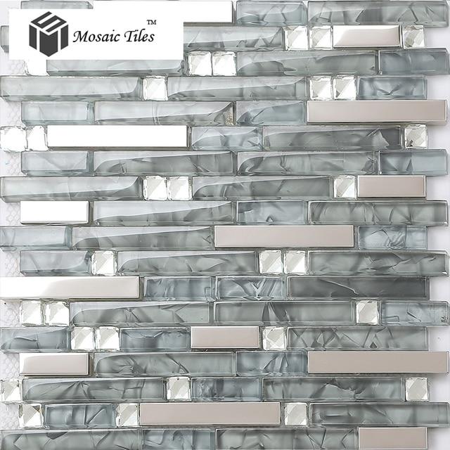 Grey Strip Stainless Crystal Glass Tile Backsplash Kitchen