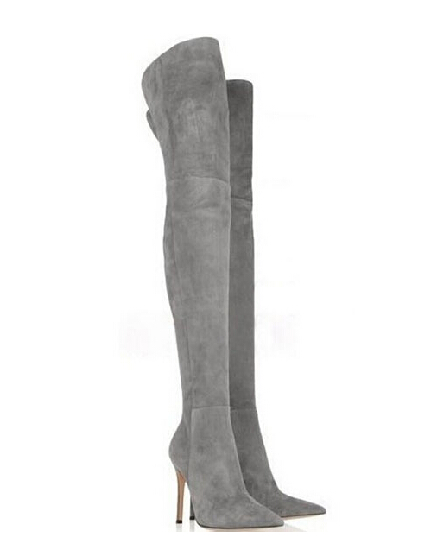 Женские ботфорты из серой замши и кожи с заостренным носком новое поступление тонкие волнующие изящные ботфорты большие размеры 42