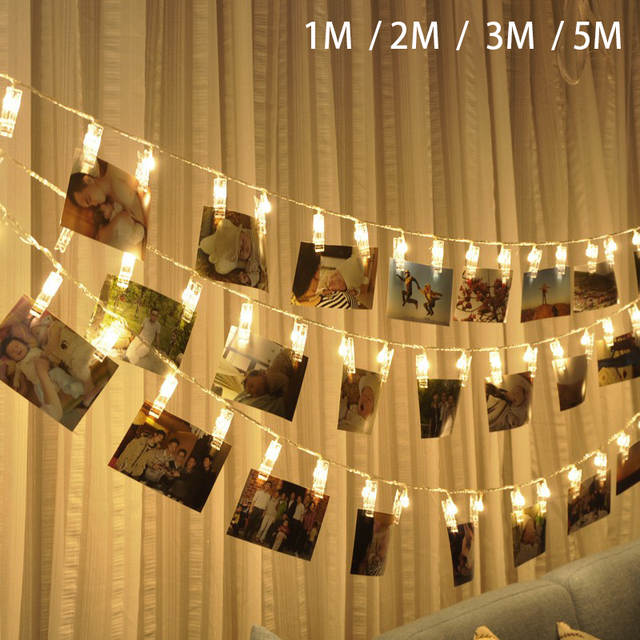 LED Card Photo Clip Led String Fairy Lights Battery Operated led Christmas  light Garlands Wedding Valentines wall Decoration