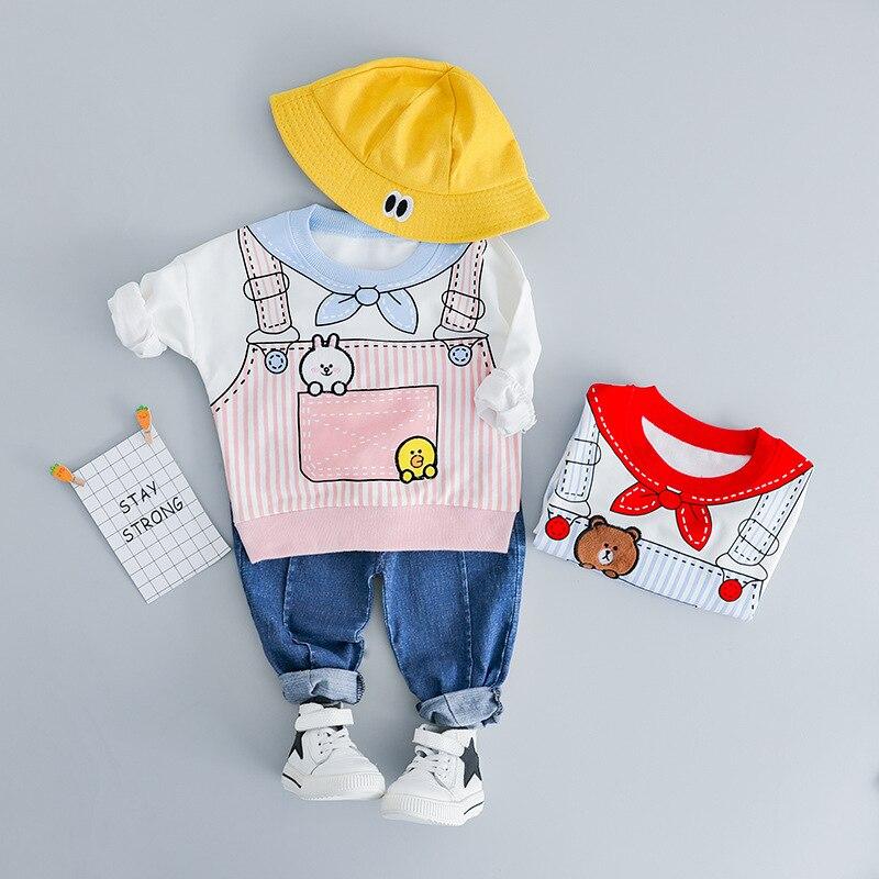 2019 Printemps Enfant Fille Cothes 0-3 T Âge Coton Imprimer Survêtement Enfants Tenues À Manches Longues T-shirt + Denim Jeans Enfants Filles Ensemble