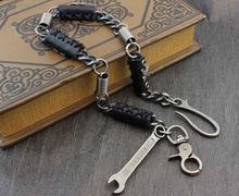 Punk Hip Hop skórzany kij długi metalowy łańcuszek do portfela Jean Biker brelok PK1 tanie tanio kc-13 XTOM2013 wallet chain