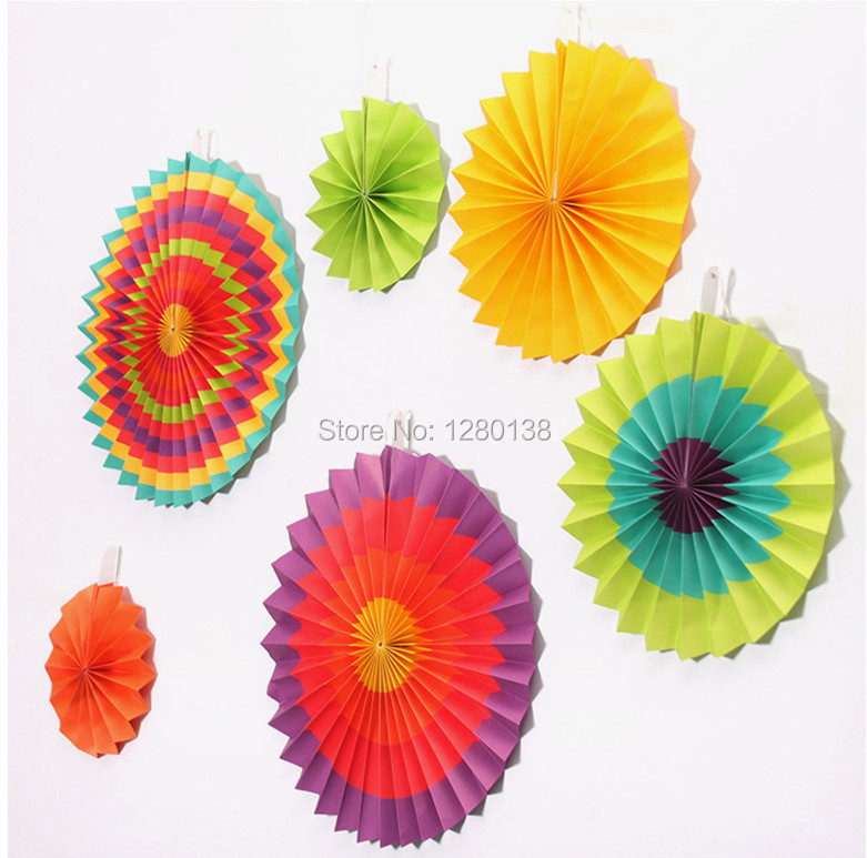 9packs Fiesta Paper Fan Decorations Wedding Backdrop Cinco De Mayo Mexican Spanish Party Supplies Rosettes
