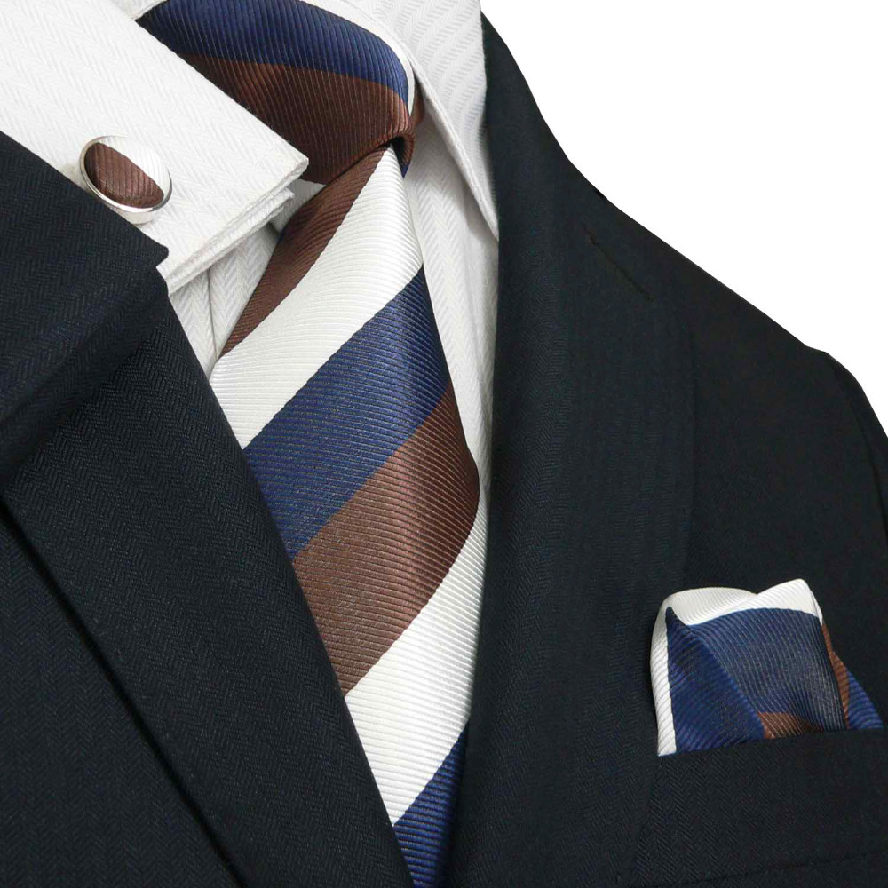 5aea1ee67fe7 Landisun Fashion 88M White Brown Navy Blue Stripes Mens Silk Tie Set: Tie+Hanky+Cufflinks-in  Men's Ties & Handkerchiefs from Apparel Accessories on ...