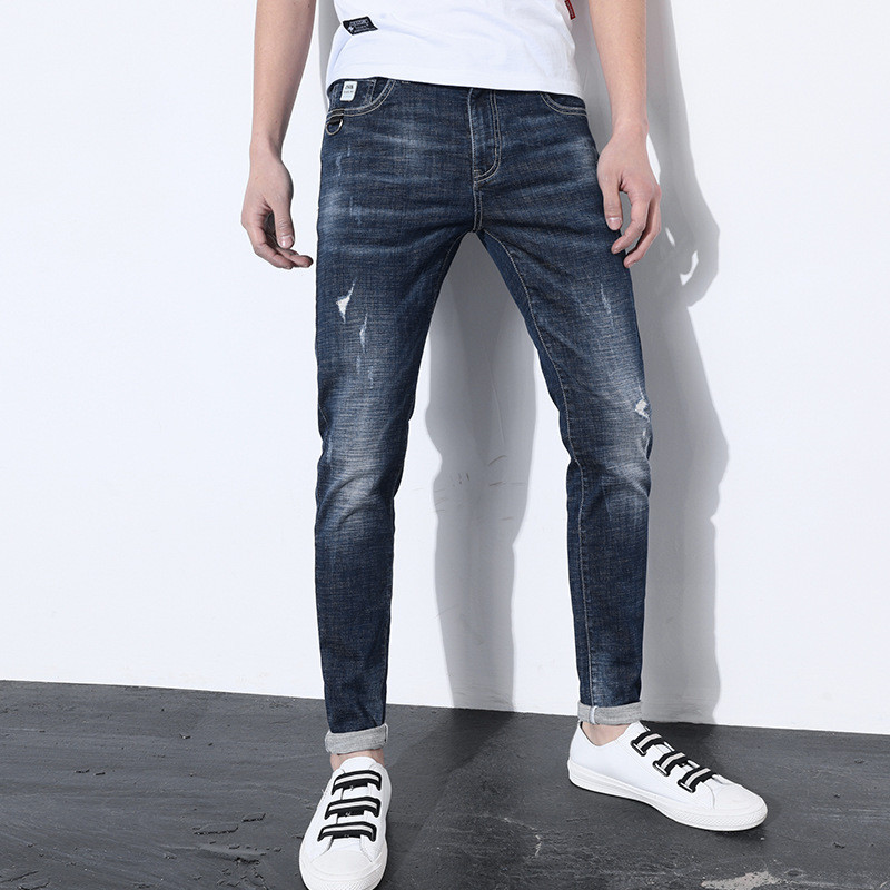 2018 New Spring Fashion Brand Mens Jeans Casual Cotton Washed Scratched Slim Denim Trousers Pants Blue Jeans for Men 28-36
