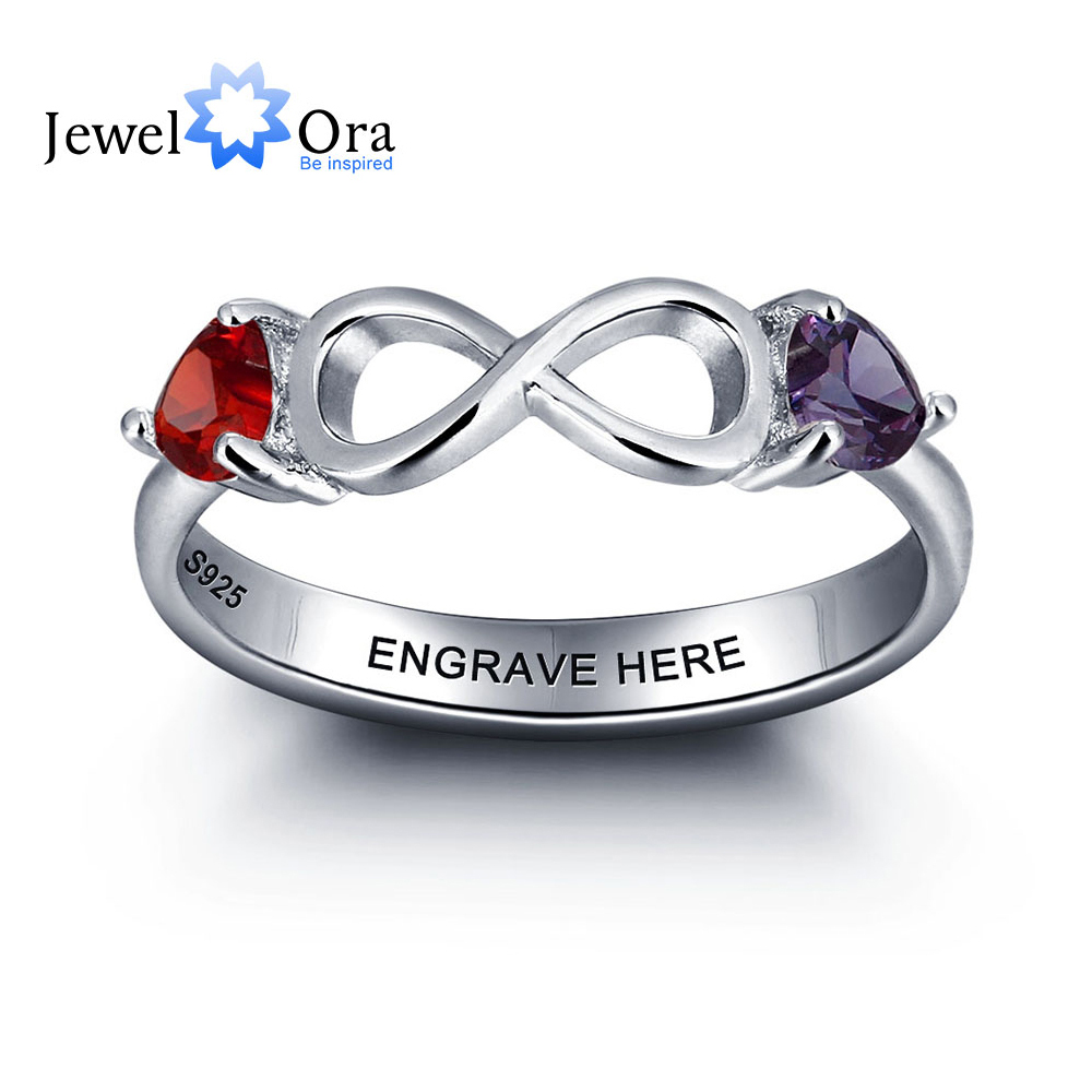 Personalized 925 Sterling Silver Figure 8 Double Heart Birthstone Ring DIY Infinity Love Name Ring (JewelOra RI101977)