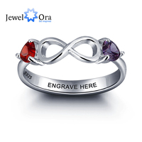 Personalized 925 Sterling Silver Figure 8 Double Heart Birthstone Ring DIY Infinity Love Name Ring JewelOra