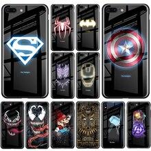 С героями комиксов Марвел, световой Стекло чехол для iPhone X XS MAX XR 6 6s 7 8 плюс задняя крышка чехол для Samsung Galaxy S8 S9 S10 Plus, Note 8, 9