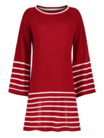 Casual O Neck Long Knitted Sweater Dress Women Cotton Slim A Line Dress Knee Length Pullover