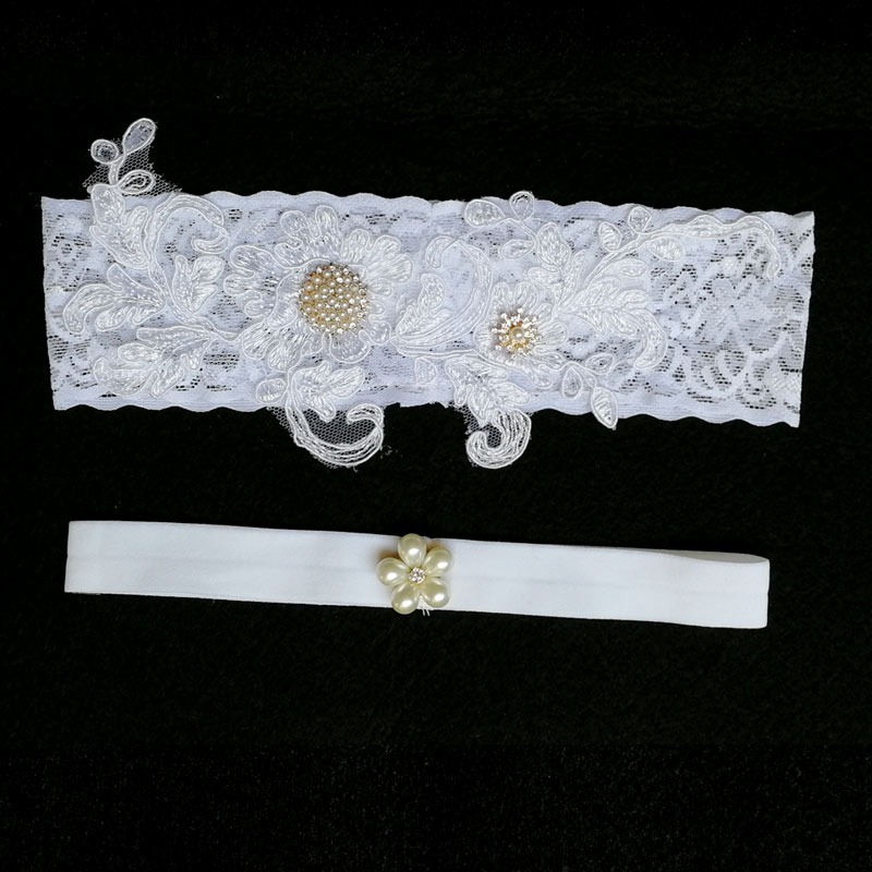 Bridal Garters White Embroidery Floral Beading Rhinestone Wedding Garters For Bride 1pc/2pcs Lace/rubber Band Leg Garter Wg011 Finely Processed Garters