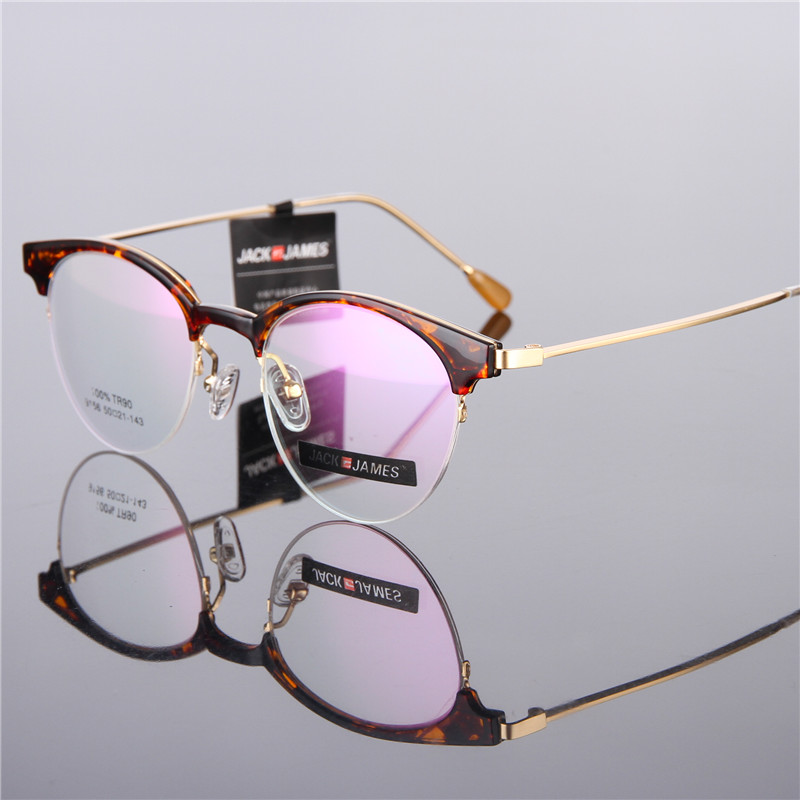 Fashion Retro Round Glasses Frame TR90 Glasses Men/Women Half Frame Prescription Glasses Optical Frame 156