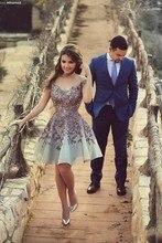 Nuevo 2017 con encanto mini vestido de prom dress with a line organza Allpique Sin Respaldo Fuera Del Hombro Venta Caliente Hermoso vestido de Cóctel vestido