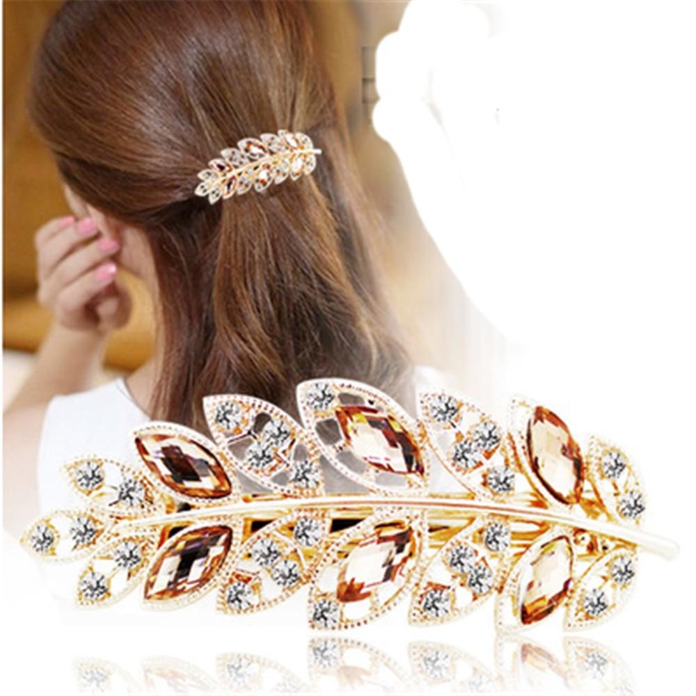Beauty Women Lady Hair Clip Leaf Crystal Rhinestone Barrette Hairpin Headband