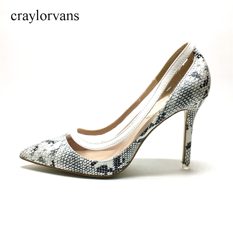 2017 New Style Women Sexy Snake Skin Pumps Mixed Colors Prints Spring Super High Heels Pointed