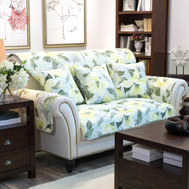 Free Shipping American Style Green Floral Print Quilting Sofa Cover  100%cotton Slipcovers For Sectional