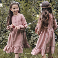 Christmas 2017 Autumn Vintage Baby Girls Dress Lace Pacthwork Lantern Sleeve Princess Dresses Kids Clothes For