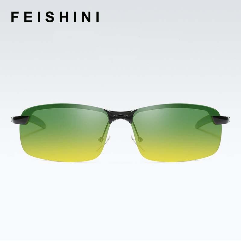 312d1135d28b9 Feishini أعلى المعدن الأصفر النظارات الشمسية النساء مستطيل زيادة سطوع مكبرة  الرجال الاستقطاب للرؤية الليلية الوردي الصيد عدسة