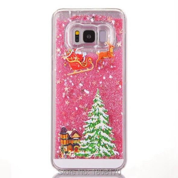 Bling Динамические liquid Xmas Снежный подарок чехол для iPhone 6 S 7 Plus 5 5S SE Samsung Galaxy S8 плюс Плывун Жесткий чехол телефона 10 шт.