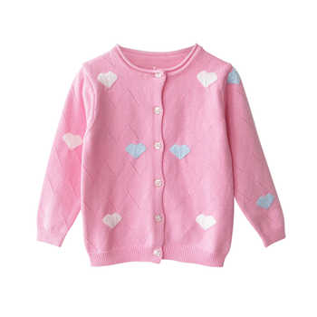 2019 Spring Baby Girls Sweaters Kids Clothes Cotton Children Knitted Sweater Coat Cute Love Heart Girls Cardigan Jacket BC221