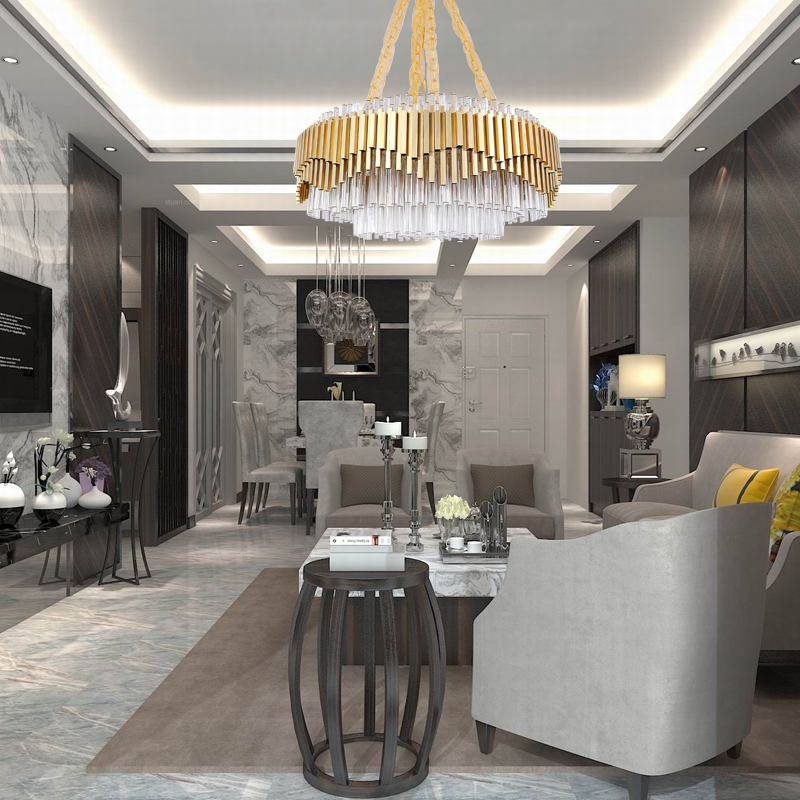 Gold Chandelier Lighting For Living Room Luxury Modern LED Lustres De Cristal 4