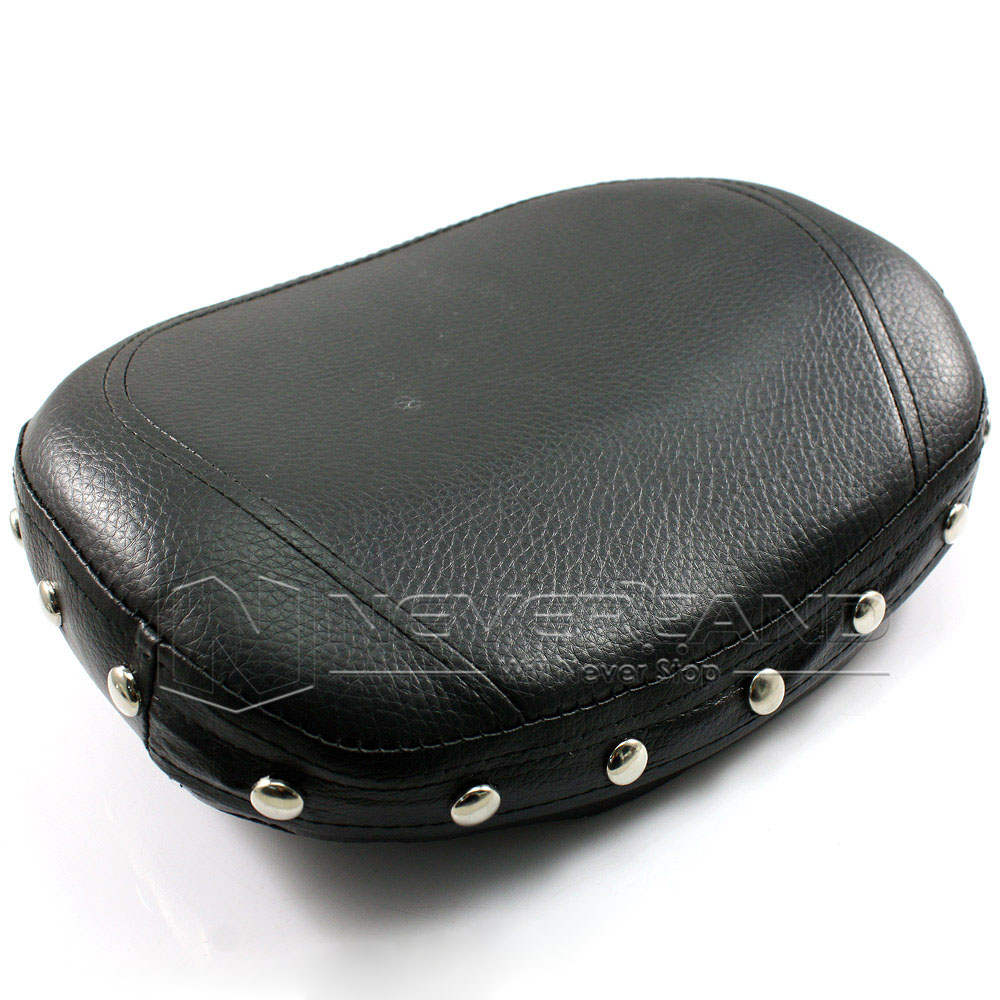 Motorcycle Backrest Universal Fitment Circular Shaped Black Sythentic Leather