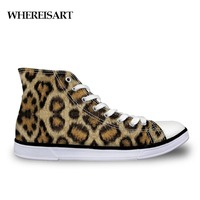 WHEREISART Canvas Print Man Shoes Leopard Pattern Male Sneakers Flat Custom High Top Men Shoe Casual Lace Up Breathable Classic
