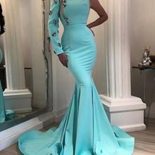 Evening-Dress One-Shoulder-Sleeves Longo Mermaid Formal Green Mint Vestido-De-Festa CHENXIAO