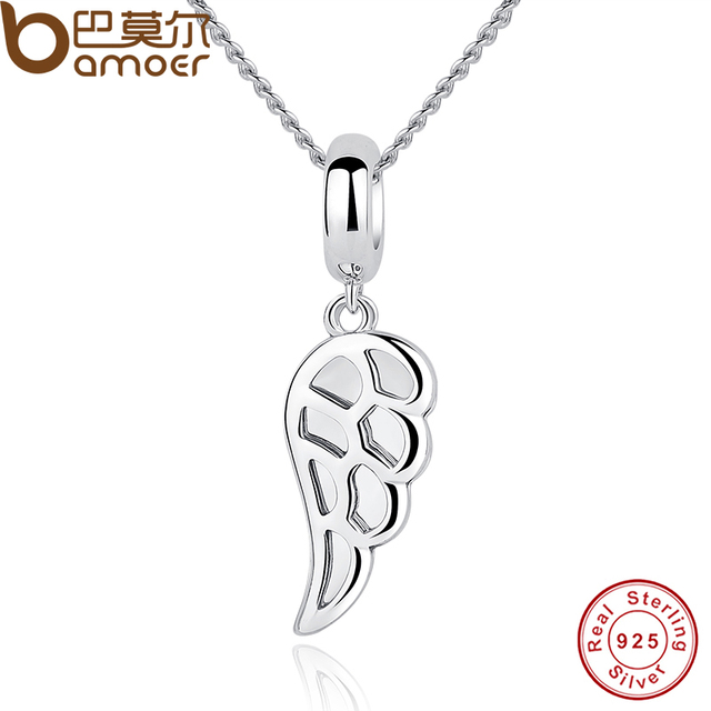 Sterling Silver Angle Wings Feather Charm Necklace