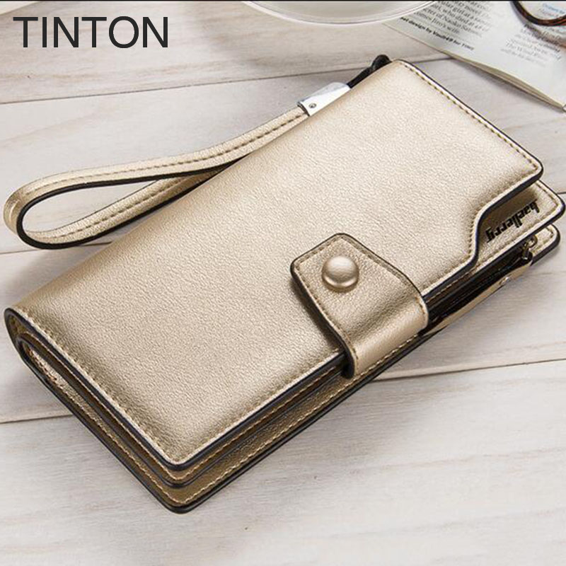 TINTON fashion womens simple personality purse 2018 ladies solid color PU leather wallet card holder clutch Card bit Coin Purse